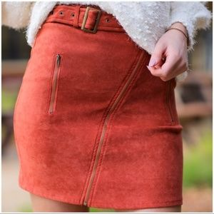 Cinnamon Asymmetrical Zipper Faux Suede Skirt
